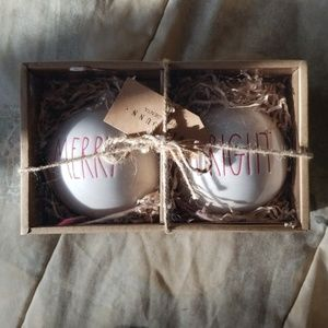 Rae Dunn merry & bright ornament set